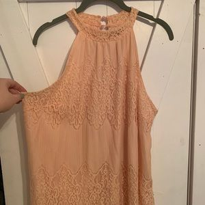 Peach lace over lay dress